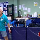 Bob (left) and Mark Littlechild in action during a table tennis event. Picture: PETER MUNCH