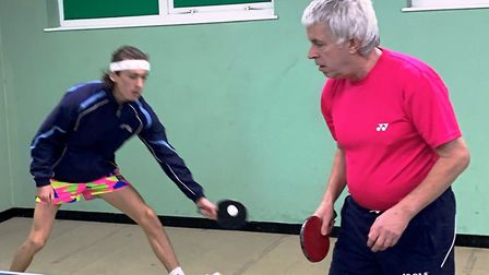Sam (left) and Derek Kiddle in action during a Wisbech table tennis event. Picture: PETER MUNCH