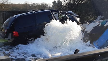 The car crashed into a water main near the A1 Barnet Bypass. Picture: BCH Road Policing.