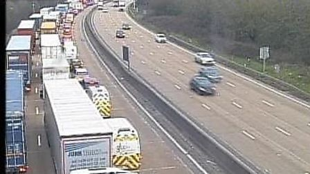 Traffic is piling up due to a an M25 crash between J23 and J25. Picture: Highways England.
