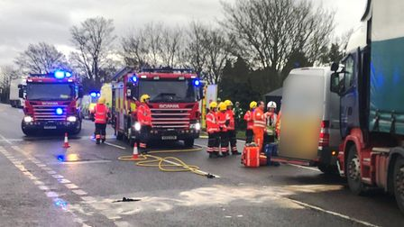 The scene on the A47 at Guyhirn after a lorry and van collided – causing major delays. Picture: Twit