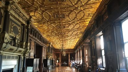 The Long Gallery with its ceiling covered with gold leaf at Hatfield House, where scenes from Fast a