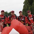 Members of The Red Devils British Army parachute display team at Hatfield House Battle Proms 2019. P