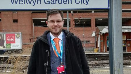 James Miller is celebrating being promoted to Welwyn Garden City station manager. Picture: Govia Tha