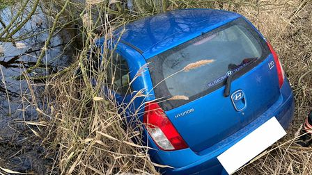 A driver and their passenger had a lucky escape after their car ended up in a water-filled ditch at
