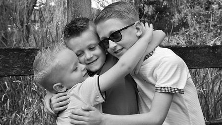 Finley, Arthur and Harrison together. Picture: SARAH DODKIN