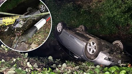 The driver left the scene after flipping their car into a water-filled ditch on Dowgate Road, Leveri