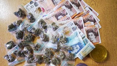 Police seized all these items, including cash and drugs, from a 15-year-old boy in Wisbech. Picture: