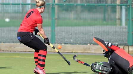 Wisbech Town hockey clubs mixed team in action against Blueharts. Pictures: IAN CARTER