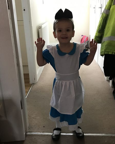 Corina Edwards daughter as Alice in Wonderland. Picture: Corina Edwards.