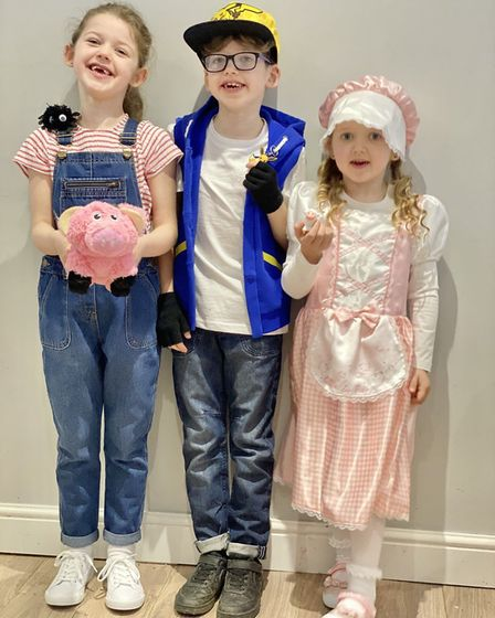 Left to Right: Lillie, six, as Fern from Charlotte's Web, Callum, seven, as Ash Ketchum from Pokemon