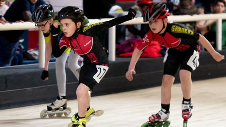 Wisbech inline speed skaters in action at the East Midlands indoor club event in Derby. Pictures: JO