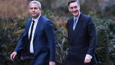 Stephen Barclay (left) and Leader of the House of Commons, Jacob Rees-Mogg arriving at Downing Stree