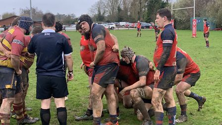 Wisbech players prepare for a scrum during their defeat to Ipswich YM. Picture: SUBMITTED