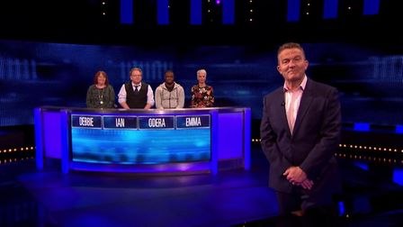 Host Bradley Walsh with The Chase contestants. Picture: ITV/ITV Hub