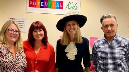 Angela Gaughan and Susanna Mateu from Potential Kids in Hatfield, with High Sheriff of Hertfordshire