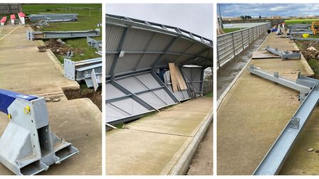Work is getting underway to replace the North Stand at Wisbech Town FC after it was destroyed by Sto