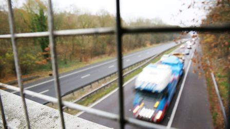 Looking South down the A1(M) motorway between junction six and seven. Picture: DANNY LOO