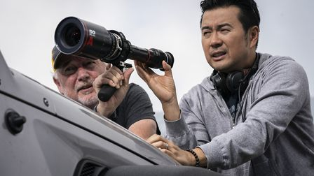 Director of photography Stephen F. Windon and director Justin Lin on the set of F9. Picture: Giles K