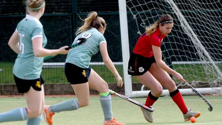 Action from Wisbech 1sts vs Cambridge University 2nds in Division One North of the East Womens Leagu