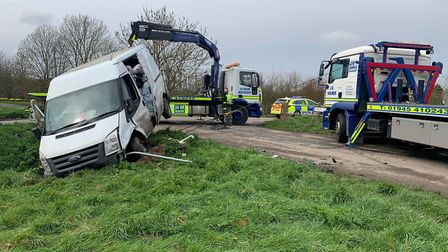 A van and car both landed in the ditch after colliding on Allens Drove junction with Birds Drove in