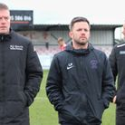 Wisbech Town manager Brett Whaley (right) with assistants Chris Lenton (left) and Leigh Porter (cent