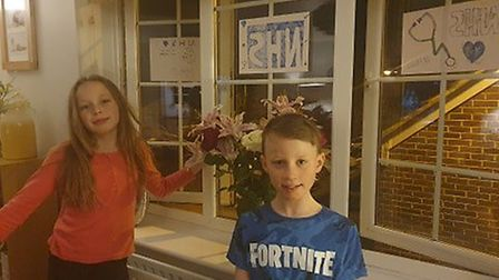 Welwyn Garden City's Sophie, who is nine, and Anthony Hill, who is eight, thanked their mum who is a