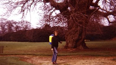 Back in the 1970's, he was using a knapsack sprayer and triple mower. Picture: John O'Conner Mainten