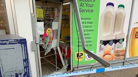 Thieves used a teleporter to smash their way into McColl's in Walton Road, Wisbech overnight. Pictur