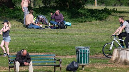 People in Peterborough Still out enjoying the hot weather during lockdown,Embankment, Peterborough