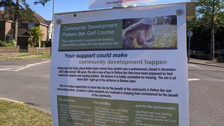 Signs for Potters Bar Golf Course to be turned a hotel were spotted at the Avenue and Oakmere Park o