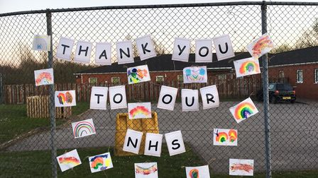 A display created by children to make NHS staff smile. Picture: Busy Bees