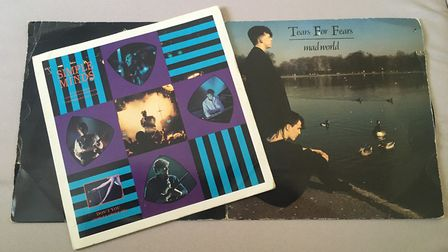 Simple Minds single Don't You (Forget About Me) and the gatefold sleeve of Tears For Fears single Ma
