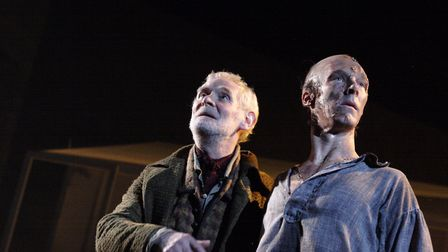 De Lacey (Karl Johnson) and The Creature (Benedict Cumberbatch) in National Theatre Live's Frankens