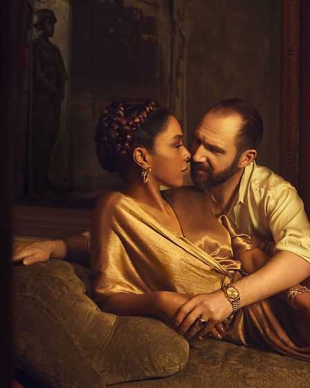 Sophie Okenado as Cleopatra and Ralph Fiennes as Anthony in National Theatre Live's Antony & Cleopat