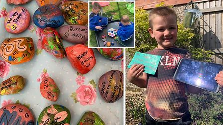 Logan Goodale was gifted a new tablet computer after painting and hiding positivity rocks around Wal