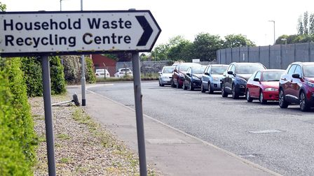 Queues of people were seen waiting to visit the household recycling centre on Boleness Road in Wisbe