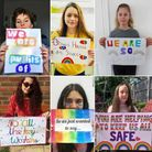 Staff and pupils at Bishop's Hatfield Girls' School made signs thanking NHS staff and key workers. P