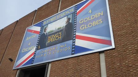 A banner for The King's Speech at Elstree Studios. Picture: Alan Davies