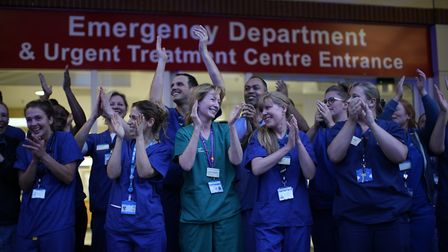 Nurses join nationwide Clap for Carers NHS initiative to applaud NHS workers and carers fighting the