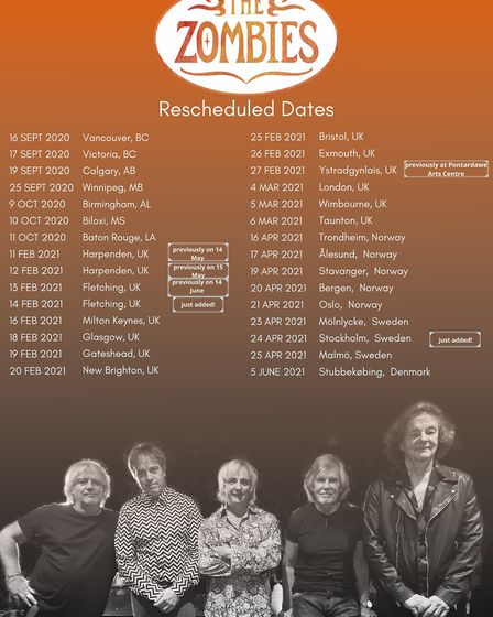 The Zombies' rescheduled tour dates