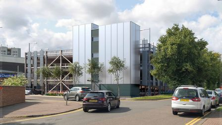 A multi-storey car park is being built in Hatfield town centre