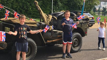 Staff and pupils from Peckover Primary School in Wisbech marked VE Day with a visit from an RAF serv
