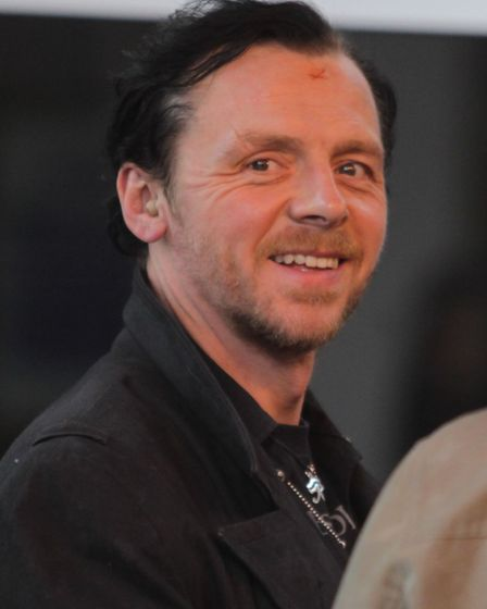 Simon Pegg during filming of The World's End in Letchworth. Picture: Harry Hubbard