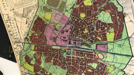 The town plan for Welwyn Garden City.