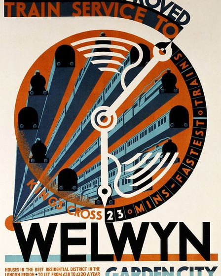 Welwyn Garden City, A Greatly Improved Service. C.W. Bacon. Lithograph In Colours, Circa 1930. 76 X