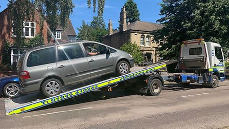 Drink driver arrested in Clarkson Avenue Wisbech, had his MPV towed away by police. Picture; FEN COP