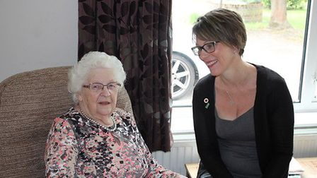 Emma Culley, of Rest Assured Homecare, with her Nan to launch the new well-being service. Image: Sup