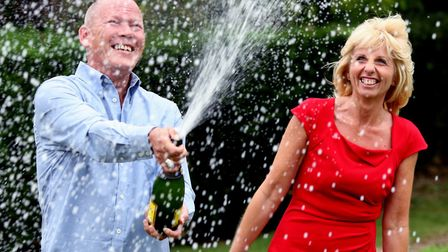 Dave and Angela Dawes from Wisbech, Cambridgeshire, celebrating in 2011 when they won more than £101