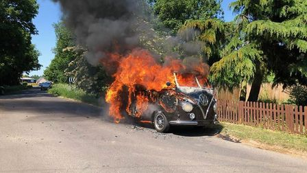 This prized campervan was destroyed accidentally when fire broke out in Barton Road, Wisbech. Pictur